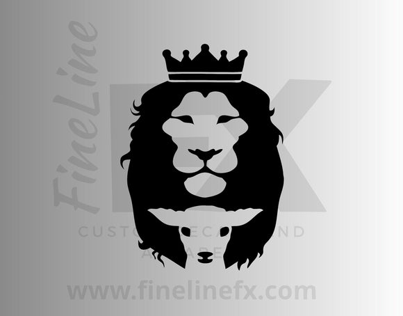 Lion And Lamb Christian Vinyl Decal Sticker - FineLineFX