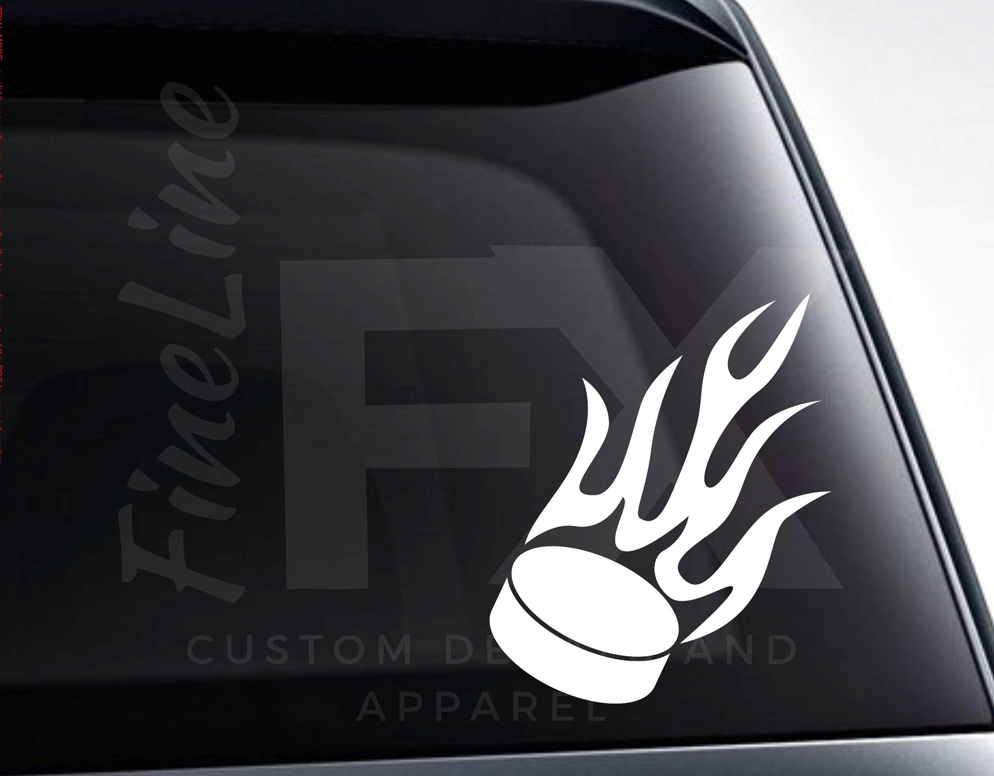 Ice Hockey Puck With Flames Vinyl Decal Sticker