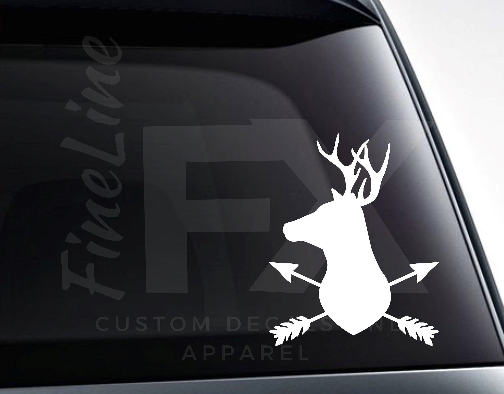 Deer Head Buck With Crossed Arrows Vinyl Decal Sticker