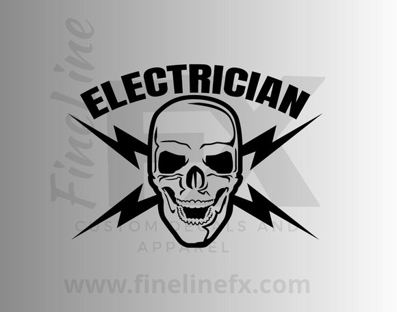 Electrician Skull Crossed Lightning Bolts Vinyl Decal Sticker