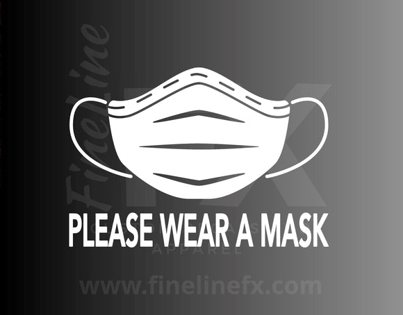 Please Wear A Mask Business Entry Sign Decal, Window Decal, Medical Mask Vinyl Decal Sticker