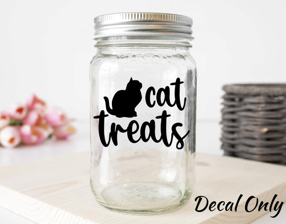Cat Treats Label With Black Kitten Silhouette Vinyl Decal Sticker