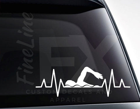 Swim Heartbeat, Swimming Heartbeat Pulse EKG Swimmer Vinyl Decal Sticker