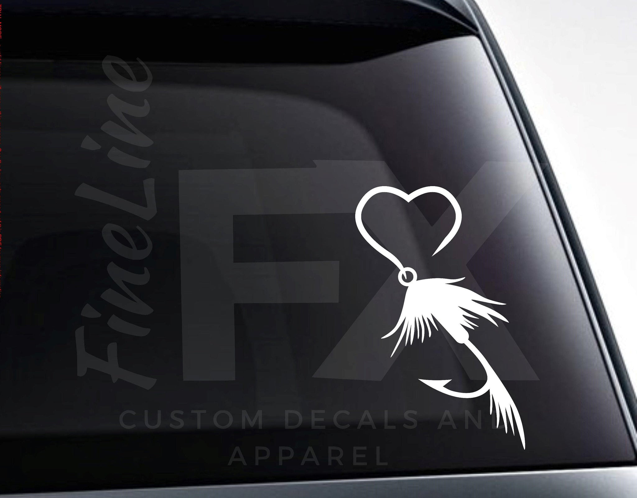 Heart Fly Fishing Lure Vinyl Decal Sticker