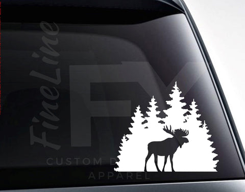 Moose in Forest Silhouette Vinyl Decal Sticker