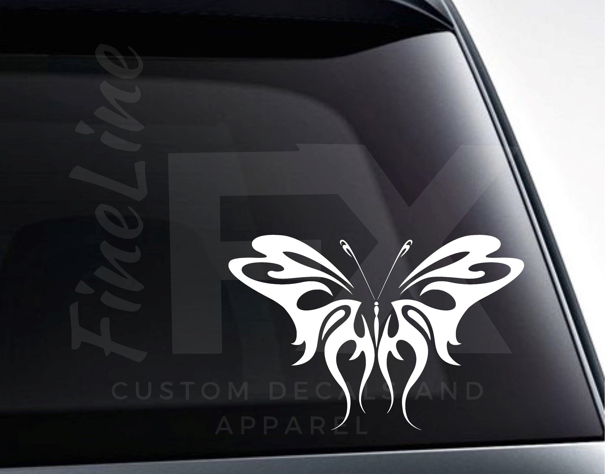 Tribal Butterfly Design Vinyl Decal Sticker