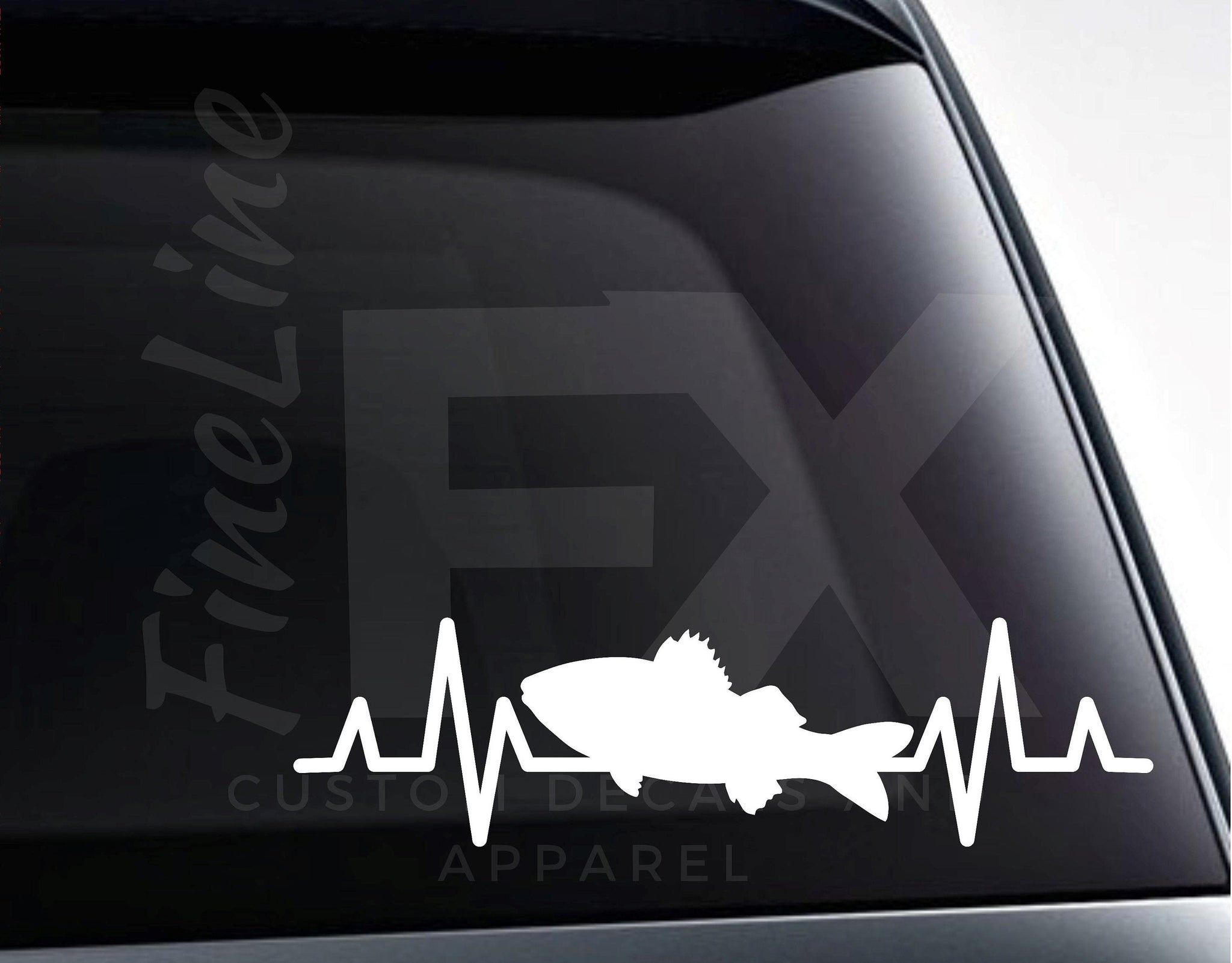 Walleye Fishing Heartbeat EKG Vinyl Decal Sticker