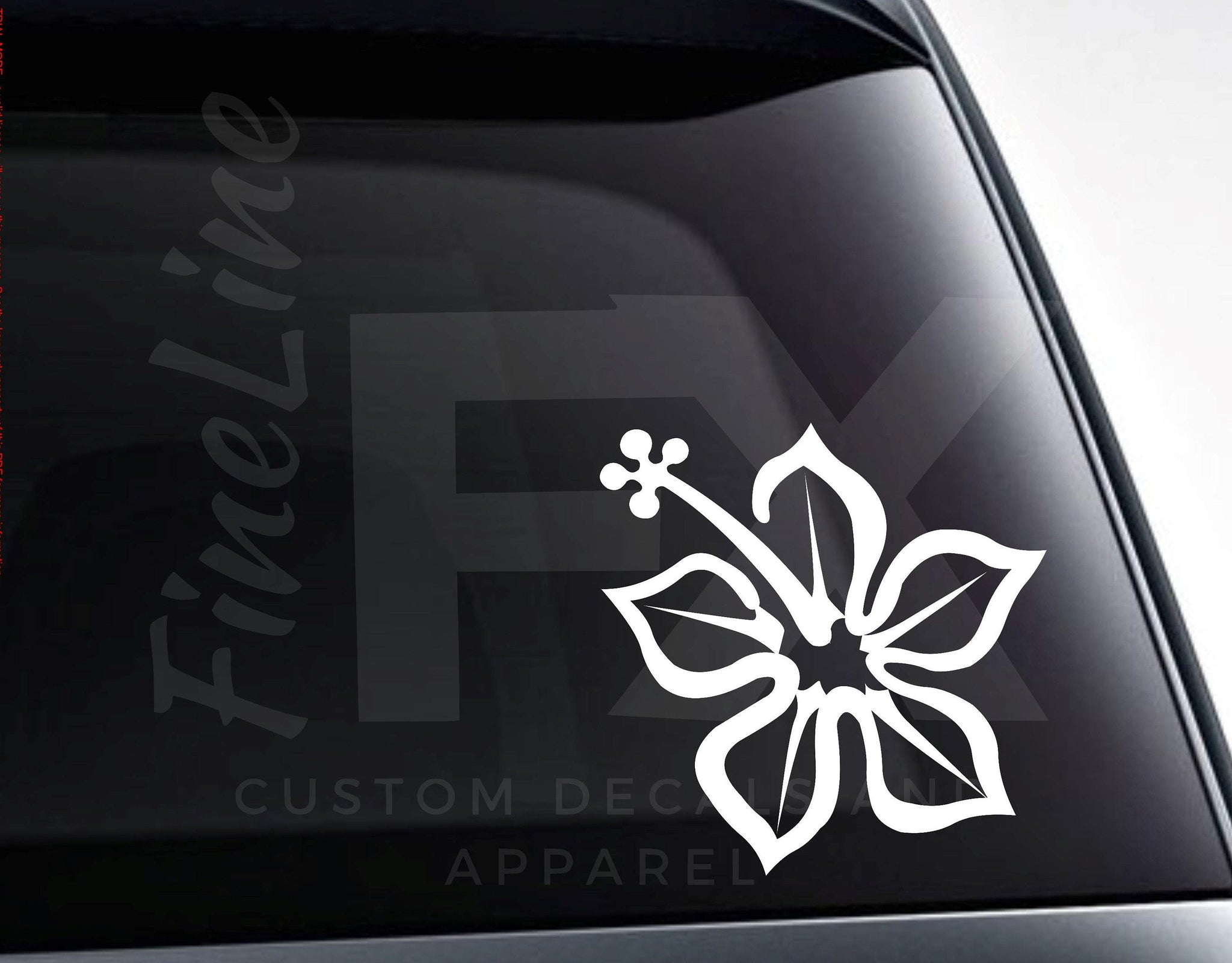 Tropical Hawaiian Hibiscus Flower Vinyl Decal Sticker
