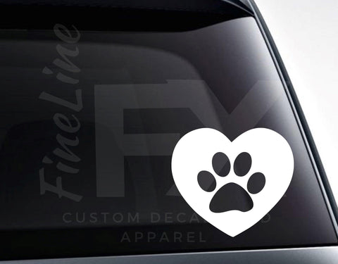 Dog Paw Heart Vinyl Decal Sticker