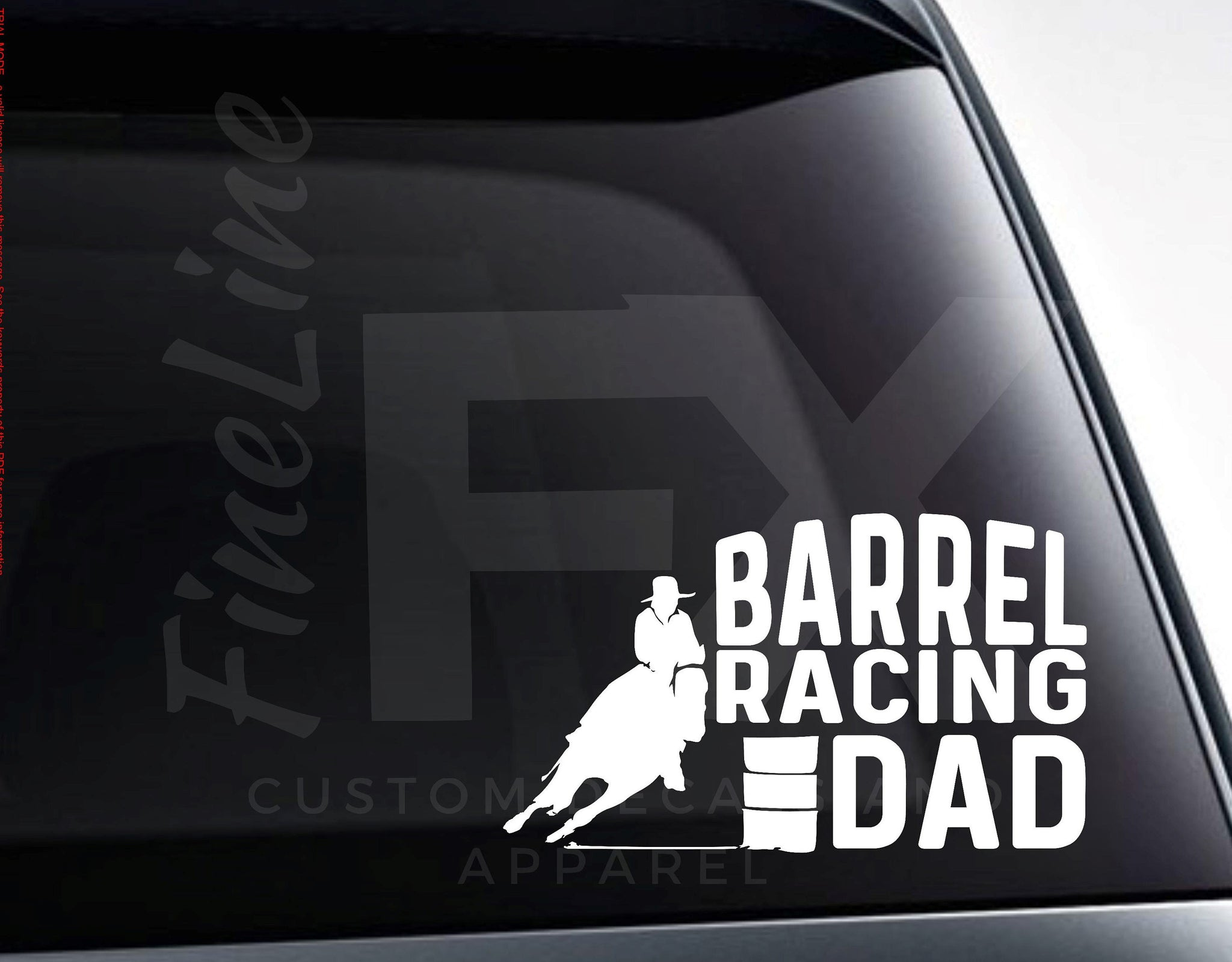Barrel Racing Dad Rodeo Horse Vinyl Decal Sticker
