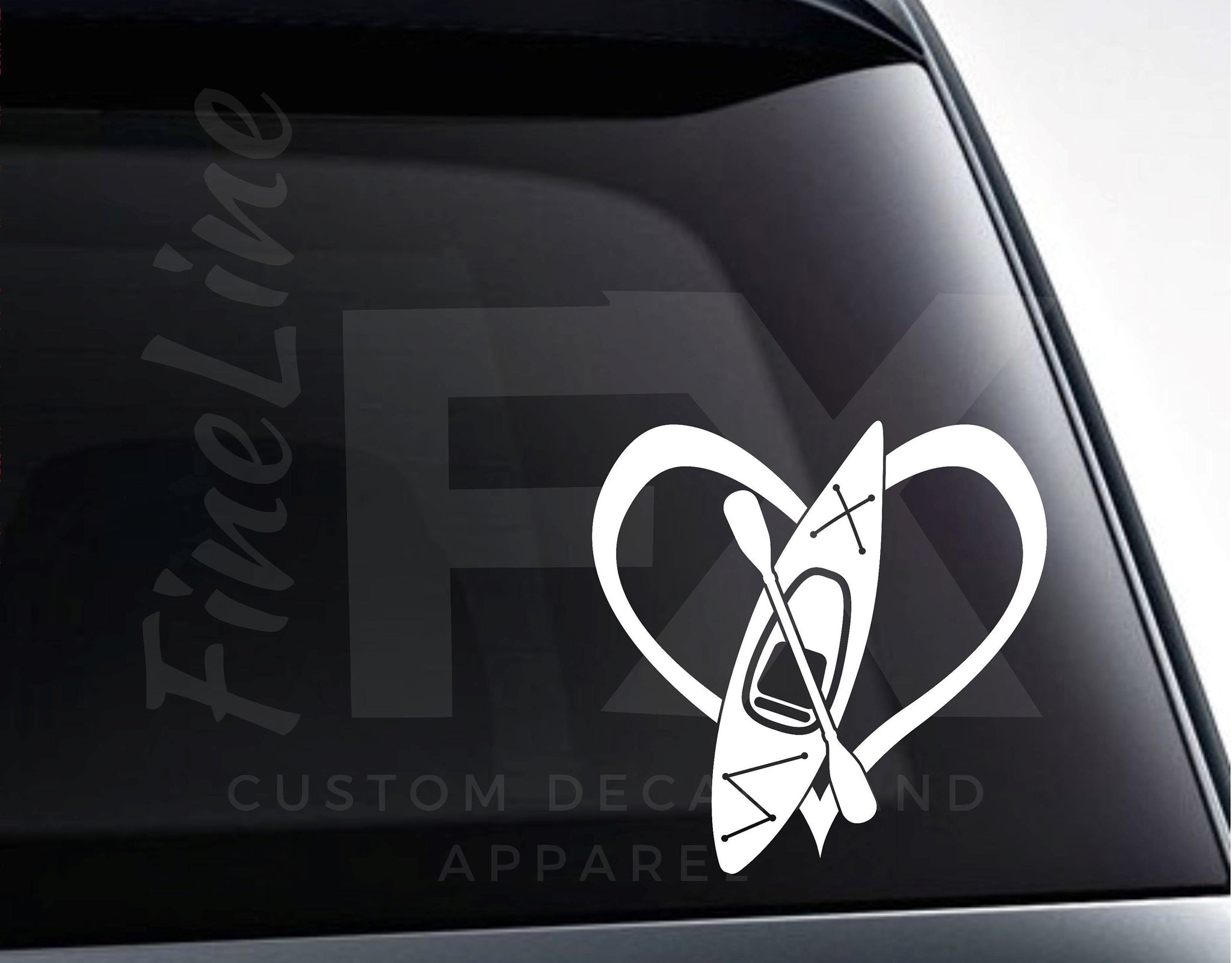 Kayak Heart Vinyl Decal Sticker