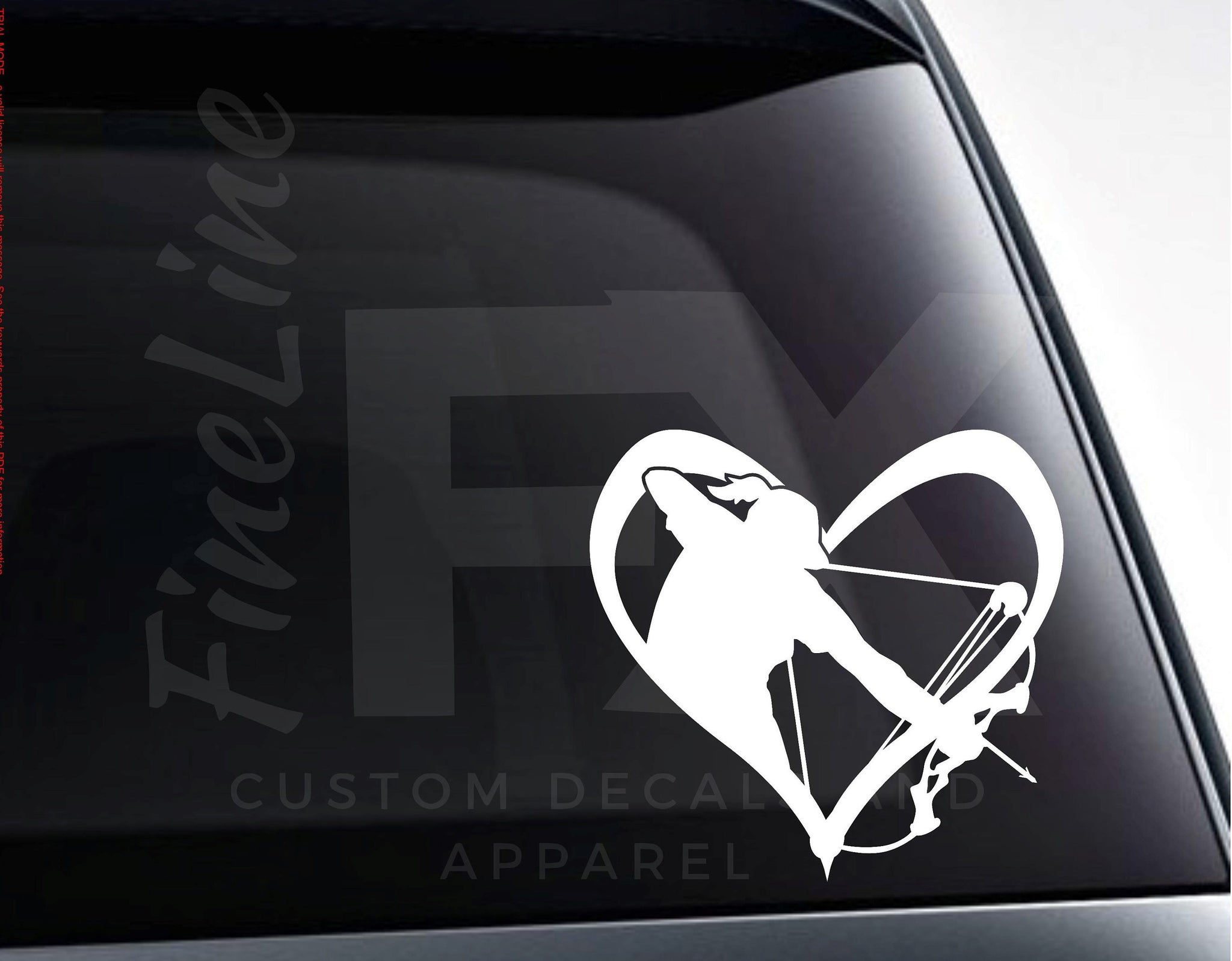 Girl Bowhunter Heart Vinyl Decal Sticker