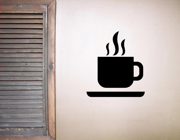 Steaming Hot Coffee Cup Wall Decal | Kitchen, Coffee Bar, Break Room Wall Decal Sticker