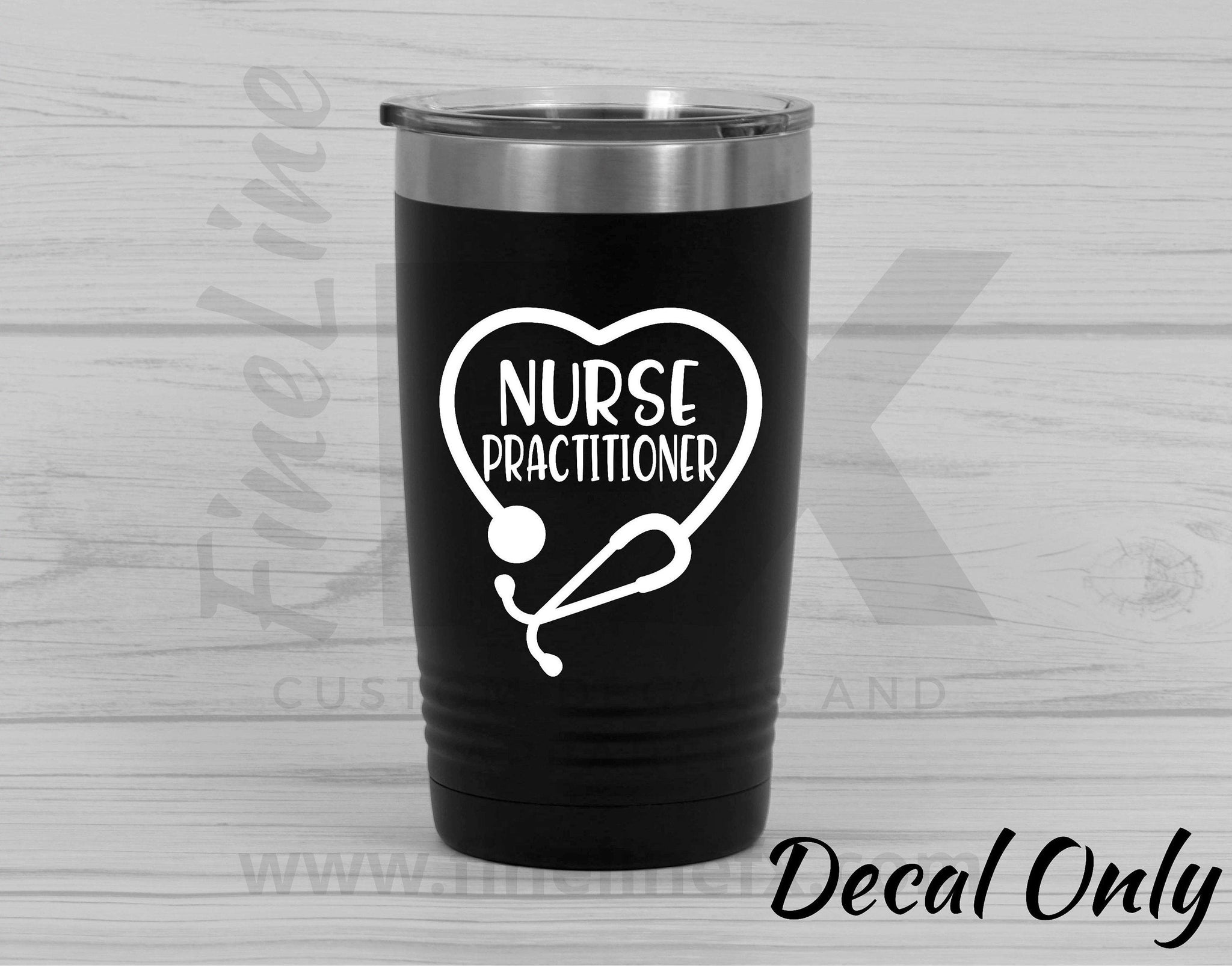 Nurse Practitioner Stethoscope Vinyl Decal Sticker