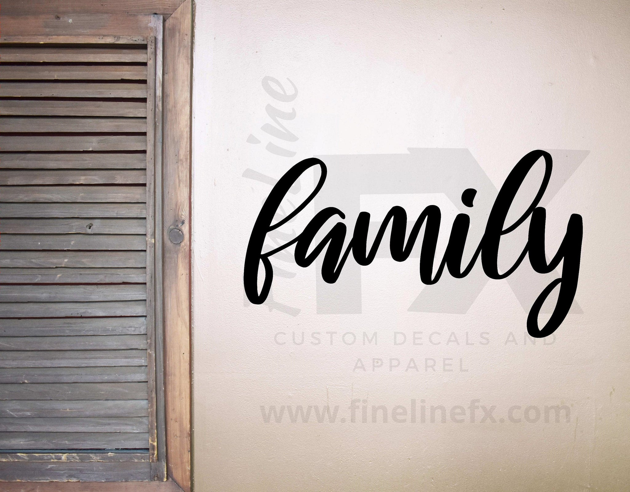 Family Wall Decal, Family Script Lettering Vinyl Wall Decal Sticker | Living Room, Family Room Wall Decor