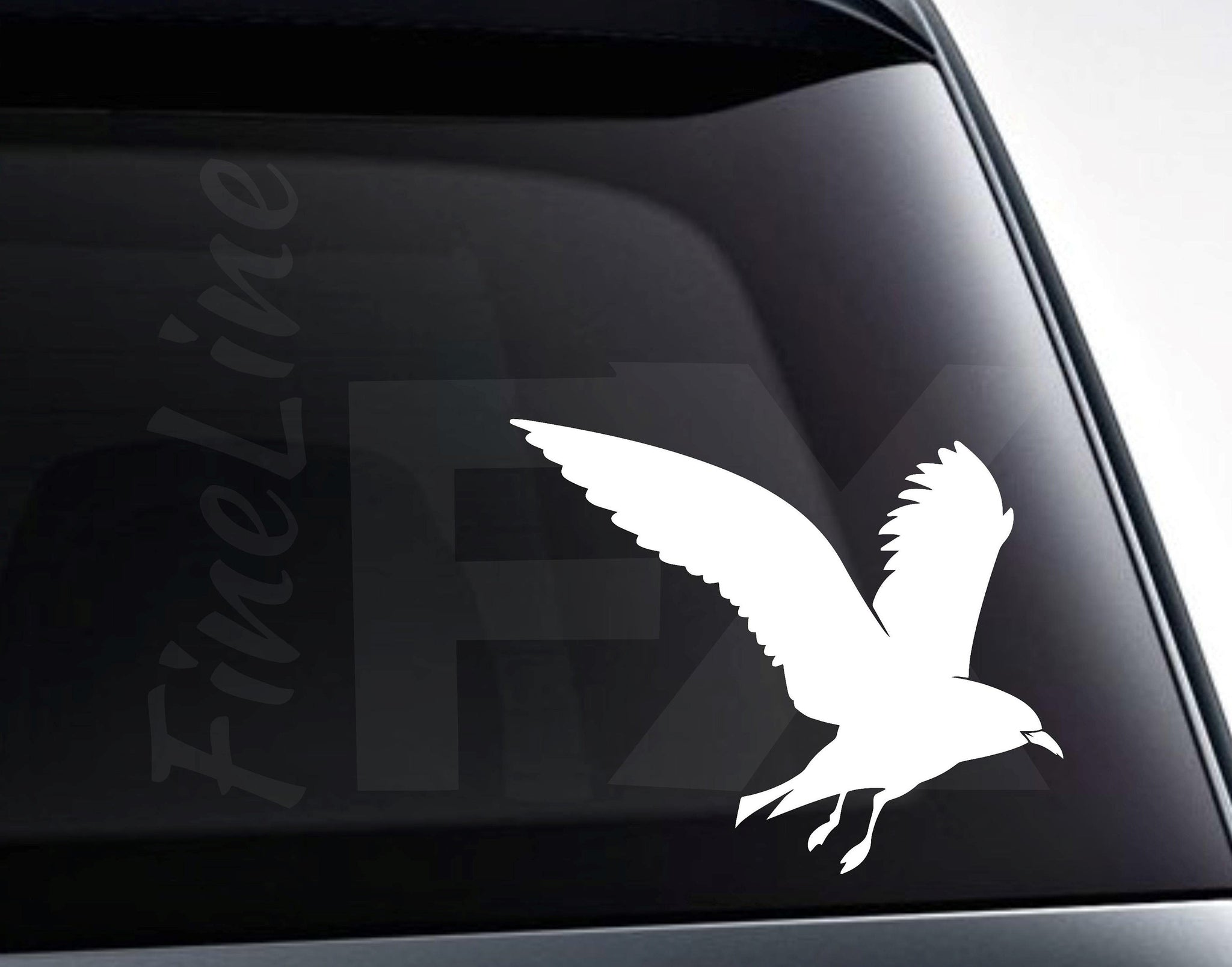 Seagull Silhouette Beach Vinyl Decal Sticker