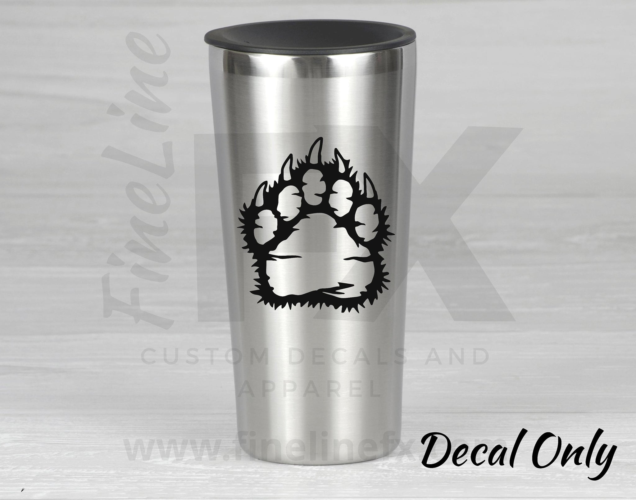Distressed Bear Paw Vinyl Decal Sticker