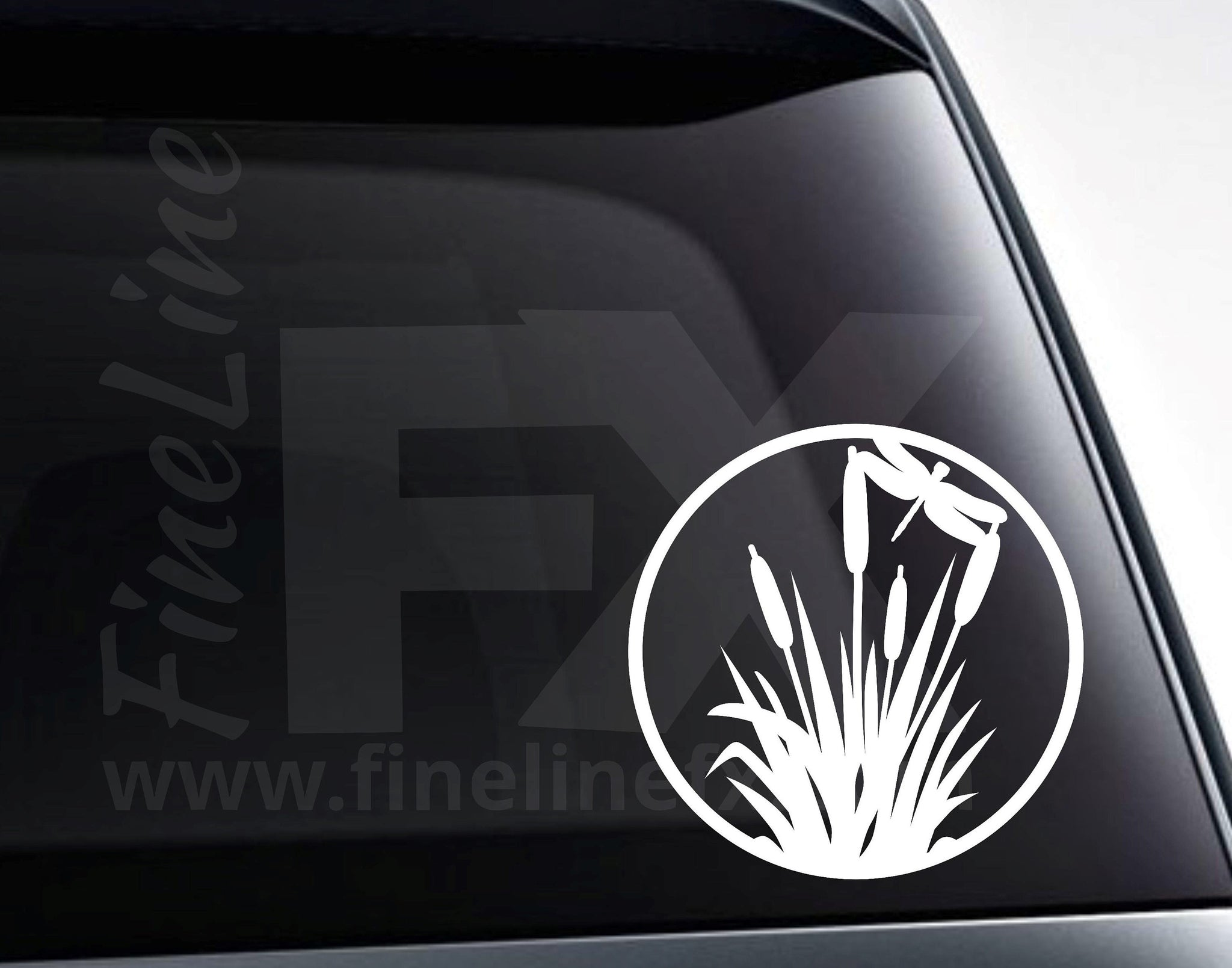 Cattails and Dragonfly Vinyl Decal Sticker