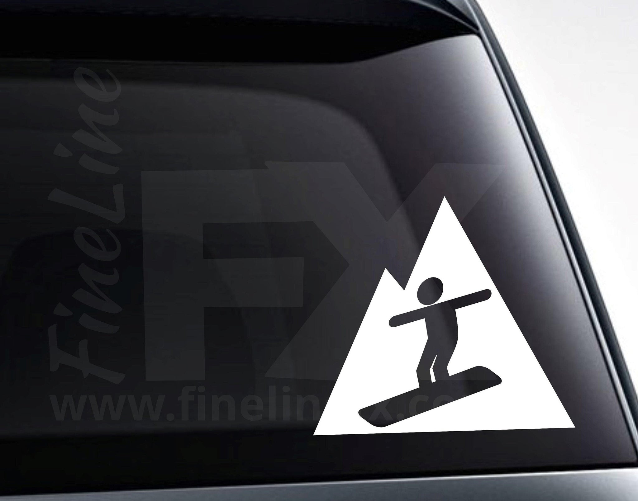 Snowboarding Mountain Sign Vinyl Decal Sticker