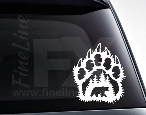 Bear Paw Print Forest Scene Vinyl Decal Sticker