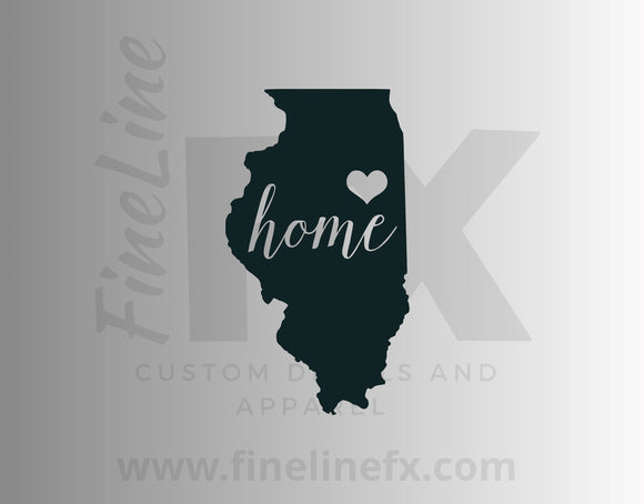 Illinois Home State Vinyl Decal Sticker - FineLineFX