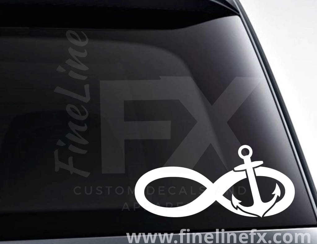 Infinity Symbol Boat Anchor Vinyl Decal Sticker