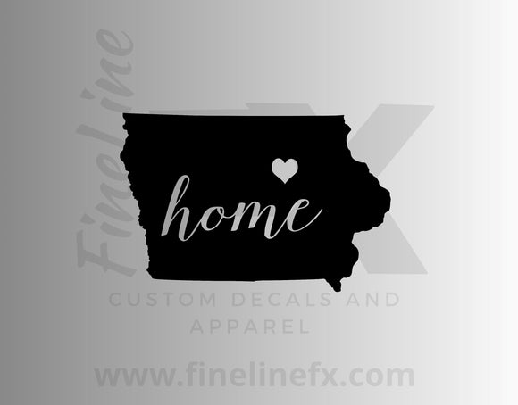 Iowa Home State Vinyl Decal Sticker - FineLineFX
