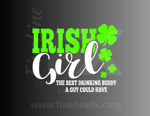 Irish Girl Drinking Buddy Vinyl Decal Sticker