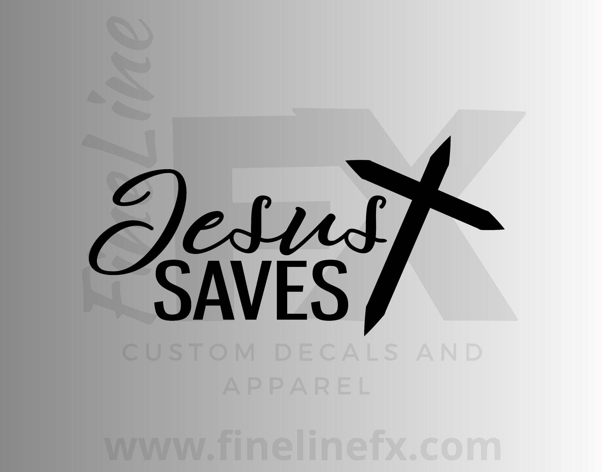 Jesus Saves Christian Cross Vinyl Decal Sticker