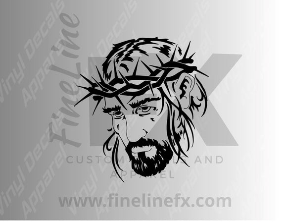 Jesus With Thorn Crown Vinyl Decal Sticker - FineLineFX