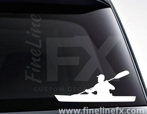 Kayaker Kayaking Vinyl Decal Sticker - FineLineFX