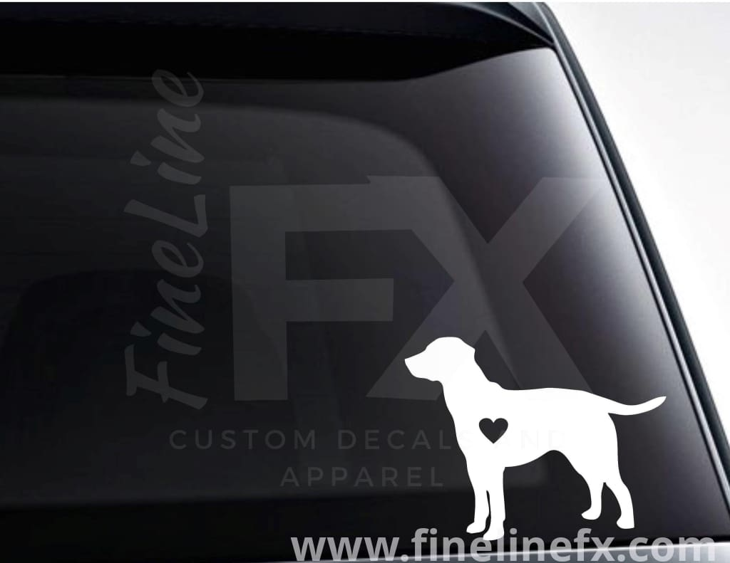 Labrador Dog With A Heart Vinyl Decal Sticker