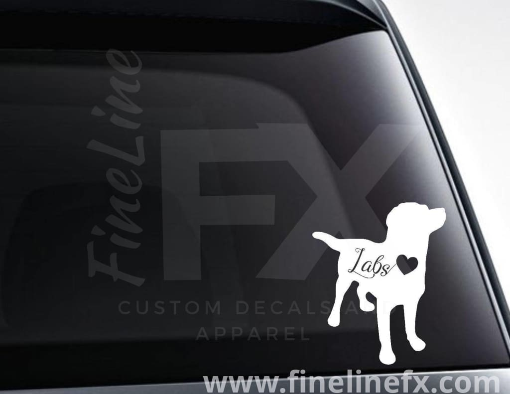 Labrador Dog With Heart Vinyl Decal Sticker