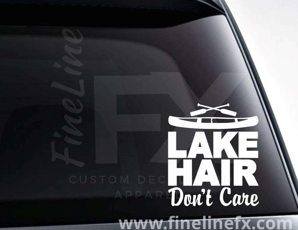 Lake Hair Don't Care Canoe And Oars Vinyl Decal Sticker