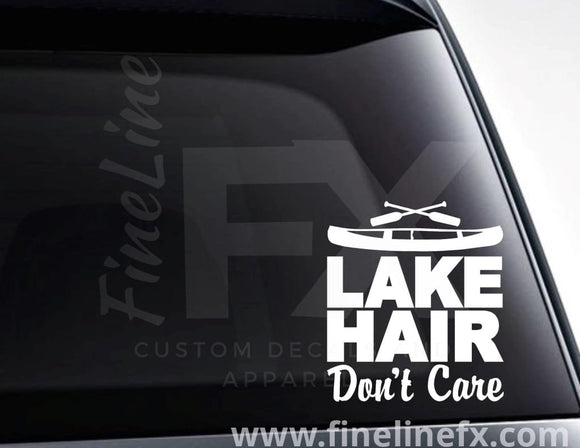 Lake Hair Don't Care Canoe And Oars Vinyl Decal Sticker - FineLineFX