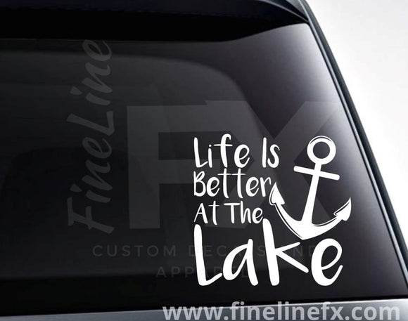 Life Is Better At The Lake Anchor Vinyl Decal Sticker - FineLineFX
