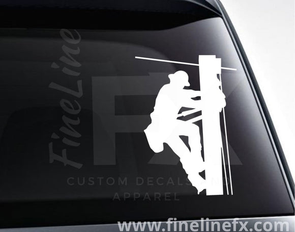 Lineman Electric Utility Worker Vinyl Decal Sticker - FineLineFX