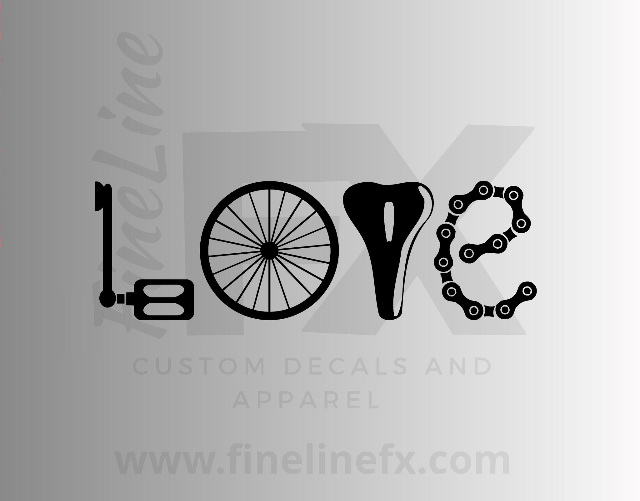 Love Bicycling Cyclist Vinyl Decal Sticker