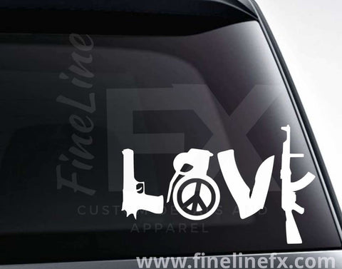 Love Guns Knife And Hand Grenade Peace Sign Vinyl Decal Sticker