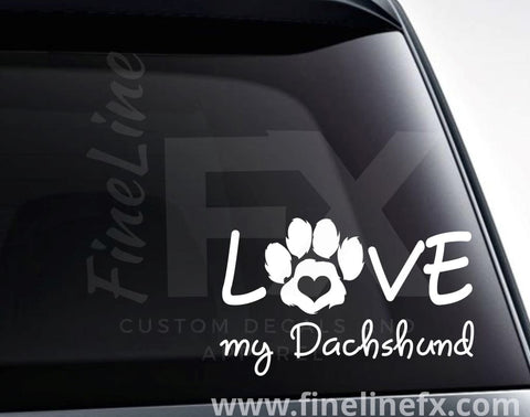 Love My Dachshund Vinyl Decal Sticker