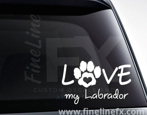 Love My Labrador Vinyl Decal Sticker