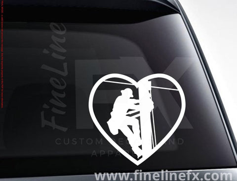 Love My Lineman Electric Utility Worker Heart Vinyl Decal Sticker