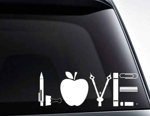 Love Teacher School Supplies Vinyl Decal Sticker