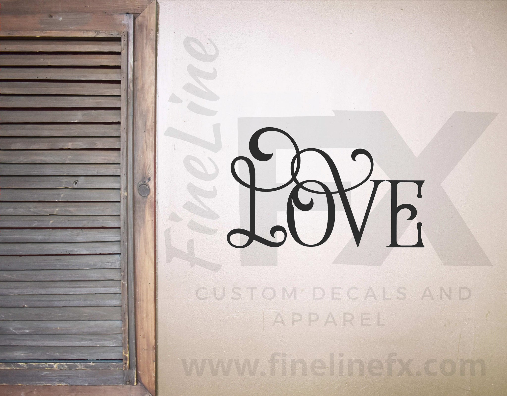 Love Fancy Typography Die Cut Vinyl Wall Decal