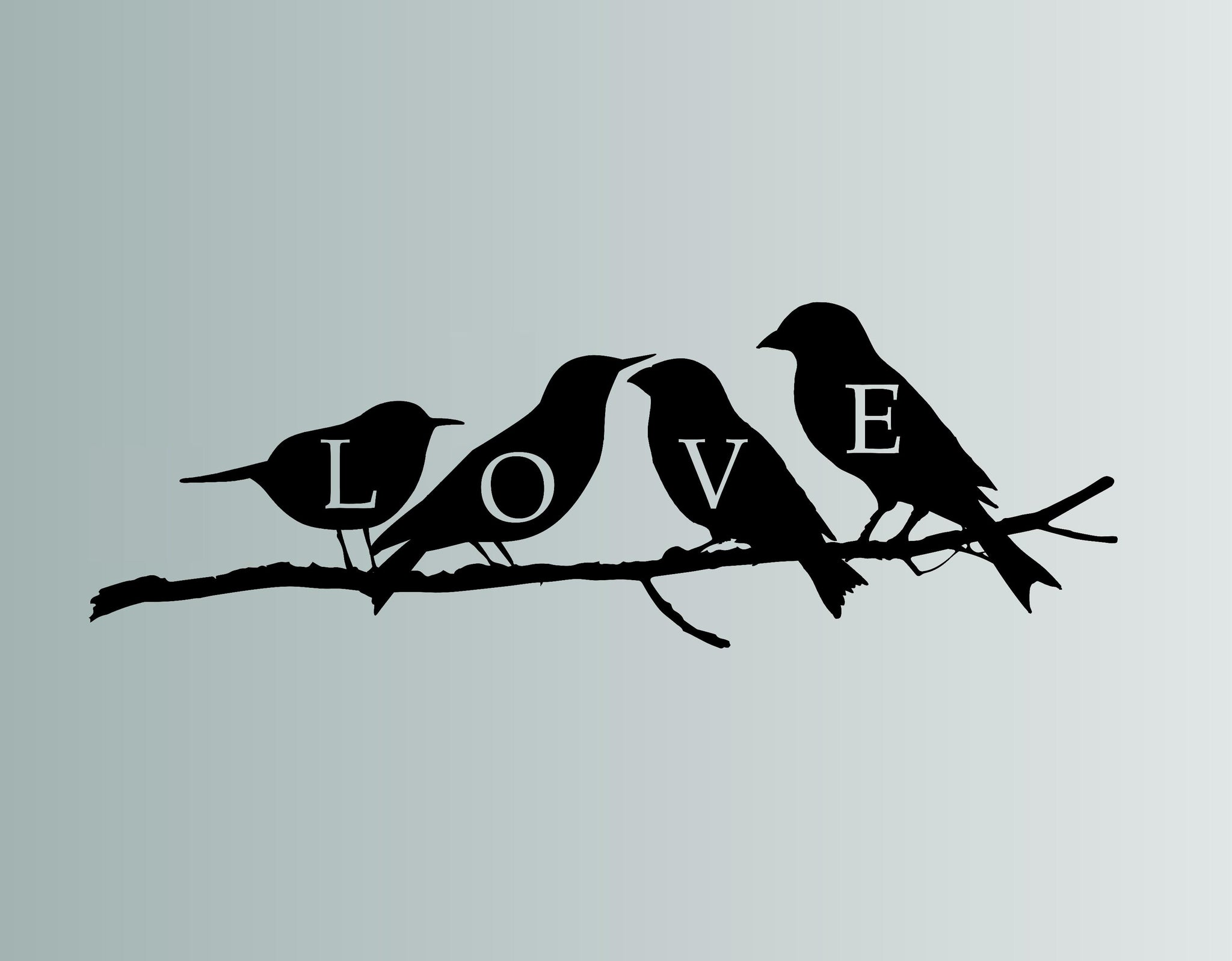 Love Birds Die Cut Vinyl Wall Decal
