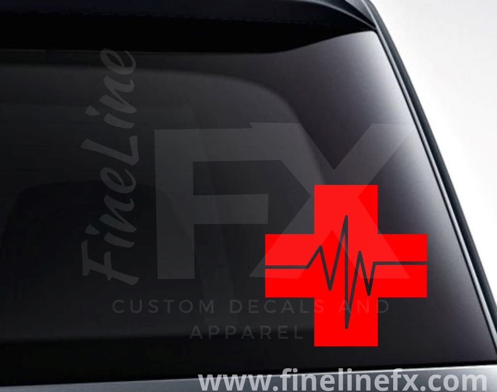 Medical Cross Heartbeat Vinyl Decal Sticker