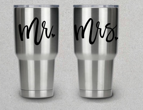 Mr. And Mrs.Vinyl Decal Stickers Pair