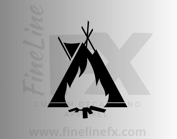 Native American Indian Teepee And Campfire Vinyl Decal Sticker - FineLineFX