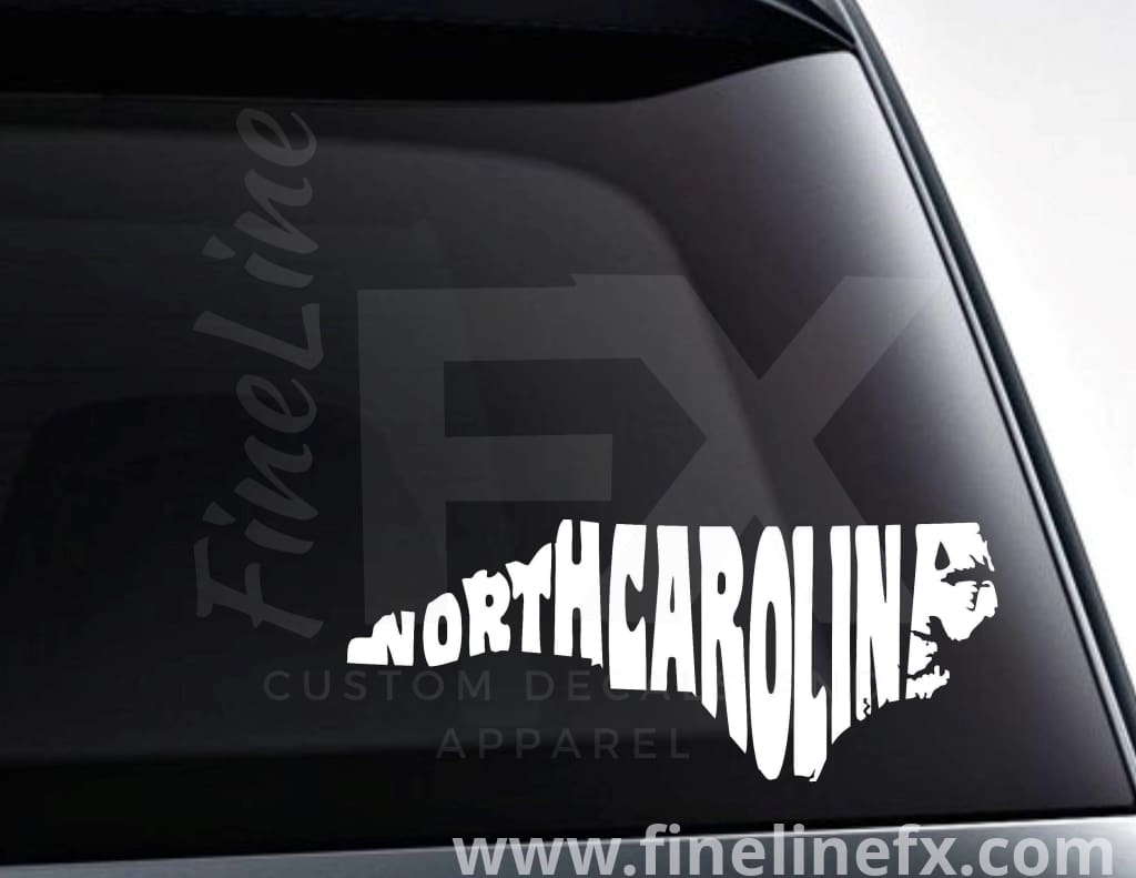 North Carolina State Word Art Vinyl Decal Sticker