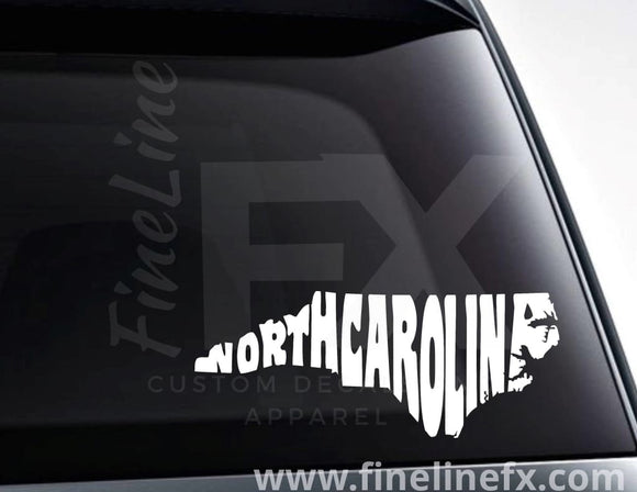North Carolina State Word Art Vinyl Decal Sticker - FineLineFX